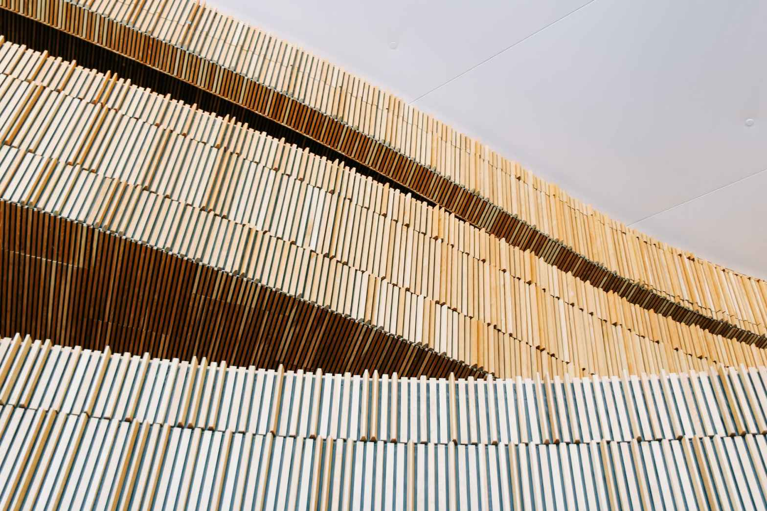 rows of wooden panels of lumber construction